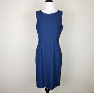 Calvin Klein Blue Sleeveless Career Sheath Dress